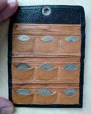More details for unusual case - 9 x silver sixpence coins in a small black 6d leather wallet