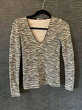 IMMACULATE - WOLFORD ZEBRA V NECK TOP - BODY - BODYCON TOP - SMALL GREY & BEIGE