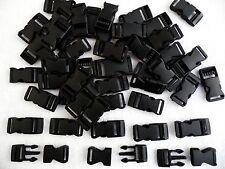 De 15 mm de plástico negro hebilla de liberación rápida cierres, Correas, Paracord etc. X 50