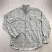 Psycho Bunny Mens Medium Blue White Plaid Long Sleeve Button Up Oxford Shirt