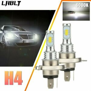 Canbus H4 9003 HB2 SUPER WHITE CSP LED Headlights Bulbs Kit High Low Beam