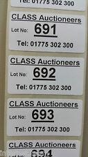 Personalised Bespoke Auctioneers Lot Labels Stickers on ROLL WATERPROOF HD 1000