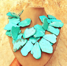 Biggest Huge Exotic TURQUOISE HOWLITE BLUE STATEMENT NECKLACE SLAB Big JEWELRY