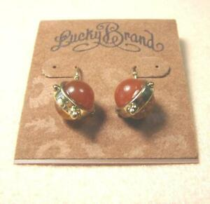 LUCKY BRAND RED GEMSTONE BALL PUNK PARTY GOLD DANGLE HOOK PIERCED EARRINGS