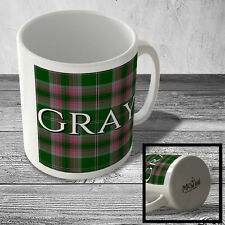 MUG_CLAN_584 GRAY (Gray surname Hunting Tartan) (full background) - Scottish Mug