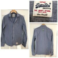 Vintage Superdry Mens Shirt Long Sleeve Checked Blue Size Small S (C671)