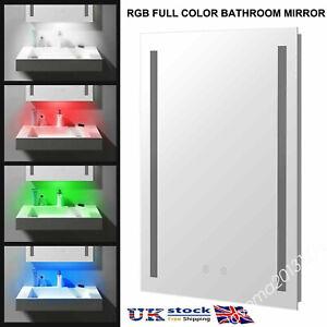 ⭐RGB LED Bathroom Mirror Light Shaver Socket Demister Touch Sensor Anti Fog MA