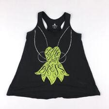 T-shirt Top Femme XS 34 Disney Paris Fée Clochette Noir Débardeur vert été Neuf