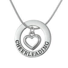 Sports Heart In Circle Pendant Cheer leading Charms Women Necklace Snake Chain