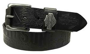 Harley-Davidson Men's Scorching Genuine Black Leather Belt - Gunmetal Finish