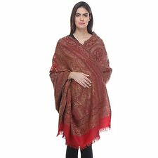 Charming Dress Shawl - Maroon Embroidered Elegant Classy Cashmere Scarf Wrap 80""
