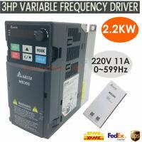 DELTA VFD Inverter Driver 3HP 2.2KW 1ph 200V~240V 11A 0~599Hz Vector Control CNC