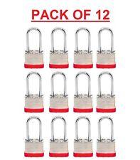 "PADLOCKS BOX of 12!!  LONG SHACKLE (1 7/8"")  Laminated Steel Keyed Alike (A389)"