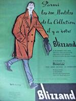 PUBLICITÉ DE PRESSE 1958 BLIZZAND 200 MODÈLES EN TISSUS GARANTI BOUSSAC
