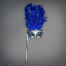 Handheld Stick Venetian Masquerade Mask for Women Silver Royal Blue M6150