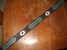 Fabulous Vintage Style Western Full Grain Leather Belt w/ Inlays Handmade Sz 30