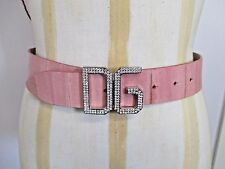 """DOLCE&GABBANA Pink Leather Belt with Crystal """"D&G"""" Buckle - Size 75/35"""