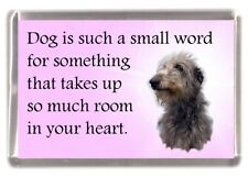 "Deerhound Fridge Magnet ""Dog is such a small word...."" by Starprint"