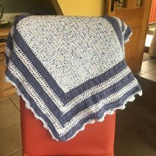 Hand Knitted, Baby Boy's Blue And White Pram Blanket