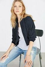 Cropped Bomber Lightweight Jacket Urban Outfitters By COPE Navy Blue Medium  $69