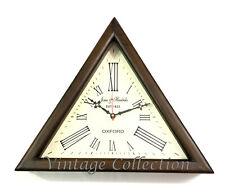 Antique Nautical Triangle Shape Wooden Wall Clock Roman Number Home Decor Clock