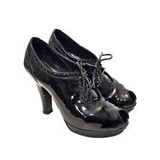 Women's FENDI Black Patent Leather Peep Toe Oxfords Platform Heels Size 37