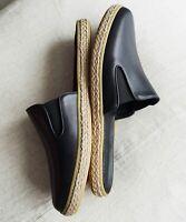 New JENNI KAYNE Black Leather Marina Espadrille Mules Flats Shoes 35 US 5 6