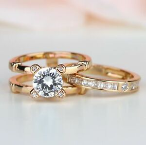 Round Cut Rose Gold Plated Women Interchangeable Engagement Ring Insert Ring Set