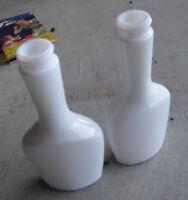 """Lot of 2 Vintage Milkglass Shampoo Barbershop Bottles T2 T7 6 3/4"""" Tall"""