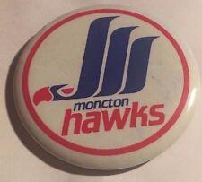 """Vintage 1980's Moncton Hawks 2 1/2"""" Pinback Button AHL"""