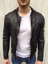 All Saints ABSOLUTE Leather Biker Jacket LARGE Black Slim Fit Collide *POPULAR*