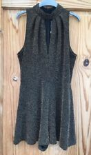 RRP £36 Topshop Black Gold Glitter Plunge Playsuit Christmas Party Dress