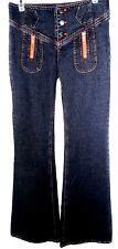 NWOT Alice+Olivia Flare Wide Leg Jeans Blue Denim Size 4 Orange Thread 3 Buttons