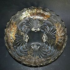 """Vintage Cambridge Silver Overlay Caprice Footed 10"""" Bowl Flowers Bees"""