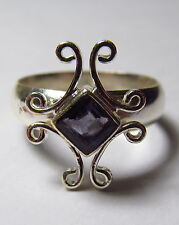 Attractive Genuine Iolite Rhodium / Sterling Silver Ring Size 8.0      IR9A