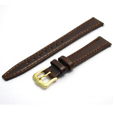 Smooth grain genuine leather watch strap band 14mm brown g D020