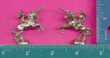 4 wholesale pewter lady on unicorn figurines E5100