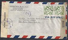 Surinam 1945 cens Firm Airmailcover to New York