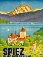Spiez Lake Thun Oberland Switzerland Vintage Swiss Travel Advertisement Poster
