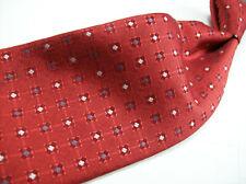BURBERRYS   Red/WHITE/Blue Geo Pattern  ENGLAND 100 SILK Necktie s 9 3-19