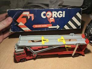 "Corgi Juniors 8"" VOLVO GLOBETROTTER CAR TRANSPORTER Red Diecast Truck Lorry"