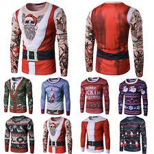Mens Casual Slim Fit Christmas Xmas 3D Printing Long Sleeve T-Shirt Tee Tops