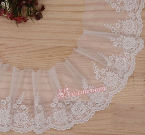 1 Yard Floral Tulle Lace Trim Ribbon Embroidery Wedding Fabric Dress decor BF293