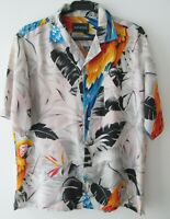 "Vintage Auth Network Tropical Parrots Hawaiian Shirt 47""-119.5cm L (862H)"