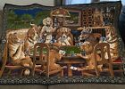 """Vintage Tapestry Dogs Playing Poker Wall Hanging 56""""x38"""" For The Man Cave Or Bar"""