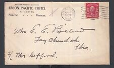 USA 1908 UKNION PACIFIC HOTEL COVER ABILENE KANSAS TO TAY CHEDAH WISCONSIN