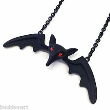 """5"""" LILY MUNSTER Black Vampire BAT Wings Gothic Pendant Necklace Chain US Seller"""