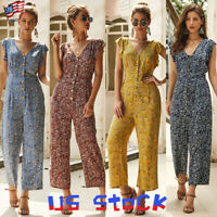 Woman Sleeveless Ruffle Jumpsuit Boho Floral Print V Neck Button Romper Beach US