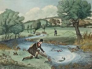 LIVE BAIT FISHING FOR JACK Hand Coloured Engraving Print - J.Pollard R.G. Reeve