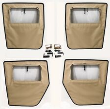 NEW HUMVEE 4 MAN TAN SOFT TOP DOOR SET M998 HUMMER 4 DOORS W/ HANDLES AND HINGES